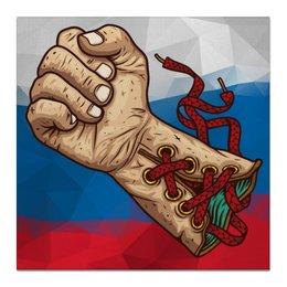"""Холст 50x50 """"Боевая Русь"""" - бокс, боец, единоборства, дизайнерские, перчатки"""