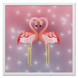 """Холст 50x50 """"Влюбленные фламинго"""" - любовь, фламинго"""