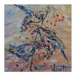 """Холст 50x50 """"Весна"""" - красиво, птички, живопись, веточка, апрель"""