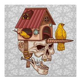 """Холст 50x50 """"Последний человек"""" - черепа, птицы, единорог, гнездо, дизайнерские"""