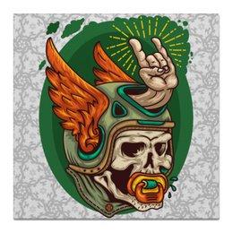 "Холст 50x50 ""Настоящий байкер"" - крылья, черепа, мото, байкер, мотоциклы"