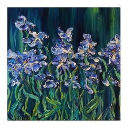 """Холст 50x50 """"Синие ирисы"""" - картина с цветами, синие ирисы, blue, flowers, цветы"""