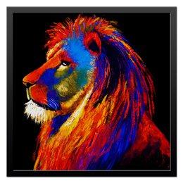 "Холст 50x50 ""Лев - хищник"" - хищник, лев, царь зверей"