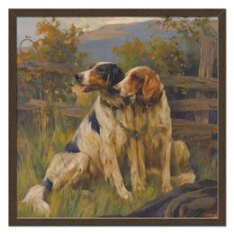 "Холст 50x50 ""Собаки"" - новый год, картина, собака, 2018, артур вардль"