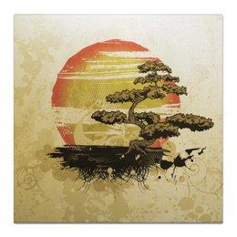 """Холст 50x50 """"Японский закат"""" - солнце, закат, дерево, япония, бонсай"""