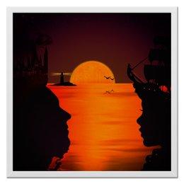 """Холст 50x50 """"Я суша, а ты океан"""" - океан, закат, любовь, корабль, маяк"""