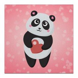 """Холст 50x50 """"Панда с сердечком"""" - любовь, панда, розовый, сердечки"""