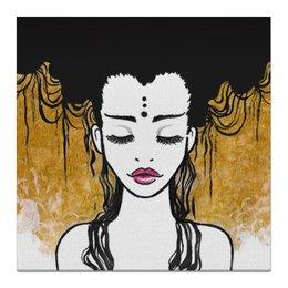 """Холст 50x50 """"Golden (vol.2)"""" - любовь, девушка, рисунок, золотой, релакс"""