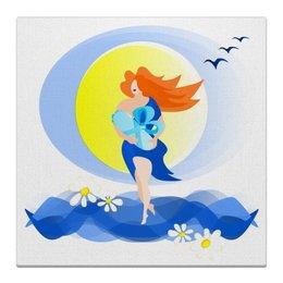 """Холст 50x50 """"Рождение новой жизни"""" - женщина, мать, рождение, младенец, новая жизнь"""