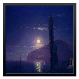 """Холст 50x50 """"Крым.Лунная ночь."""" - пейзаж, луна, корабли, крым, лунная ночь, бухта, ночное небо"""