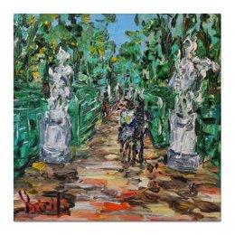 """Холст 50x50 """"Летний сад"""" - питер, красота, прогулка, двое, статуи"""