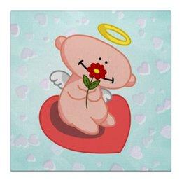 """Холст 50x50 """"Влюбленный ангелок с сердцем"""" - сердце, любовь, цветок, ангел"""