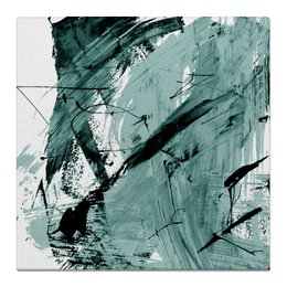 """Холст 50x50 """"волна"""" - голубой, волна, краски, хаос"""