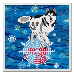 "Холст 50x50 ""Бегущая по снегам"" - собака, снежинки, хаски, северное сияние, северное полушарие"