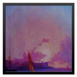 """Холст 50x50 """"Пейзажи Крыма.Севастополь."""" - море, небо, горизонт, пейзаж, корабль, крым, севастополь, гавань, причал"""