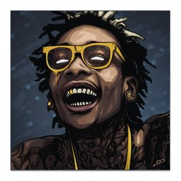 "Холст 50x50 ""WizKhalifa"" - digitalart, music, rap, star, wizkhalifa"