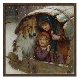 """Холст 50x50 """"Дети и собака, зима"""" - собака, 2018, день матери, артур элсли, живопись"""