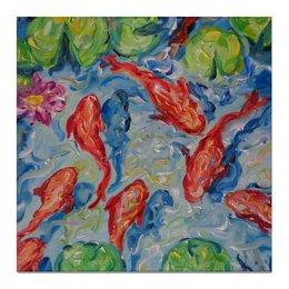 """Холст 50x50 """"Золотые рыбки"""" - арт, радость, рыбы, живопись для дома, картина недорого за 2000 руб"""