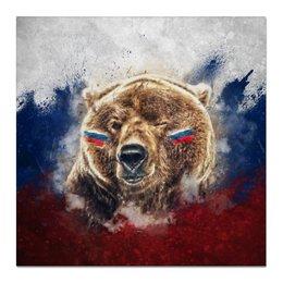 "Холст 50x50 ""Русский Медведь"" - футбол, медведь, россия, флаг, триколор"