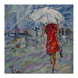 """Холст 50x50 """"Девушка в красном"""" - интерьер, подарок девушке, на стену, под зонтом, дешевая картина"""