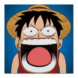"Холст 50x50 ""Луффи - Чё??!!"" - аниме, шляпа, one piece, луффи, монки ди луффи"