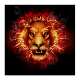 "Холст 50x50 ""Fire Lion"" - лев, огонь, lion, пламя, fire"