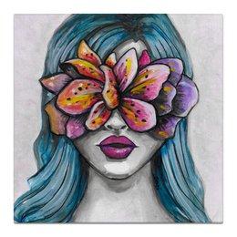 """Холст 50x50 """"Весна"""" - праздник, девушка, цветы, 8 марта, весна"""