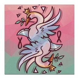 """Холст 50x50 """"Лебединая песня"""" - любовь, мир, птицы, дизайнерские, лебедь"""