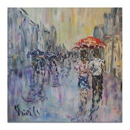 """Холст 50x50 """"Дождь"""" - город, живопись, красный зонт, прохожие, улица"""