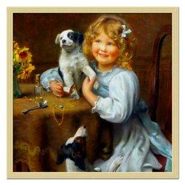 """Холст 50x50 """"Девочка с собакой и щенком"""" - картина, собака, день матери, 2018, артур элсли"""