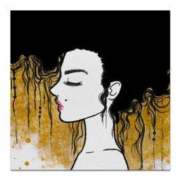 """Холст 50x50 """"Golden"""" - любовь, девушка, золотой, климт"""