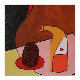 """Холст 50x50 """"Ворсинки Кокоса"""" - бутылка, кокос, натюрморт, still life"""