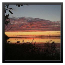 """Холст 50x50 """"Закаты Карелии"""" - лес, закат, пейзаж, берег, озеро"""