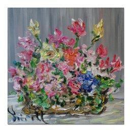 """Холст 50x50 """"Букет"""" - ирисы, цветочки, тюльпаны, розы, букет"""