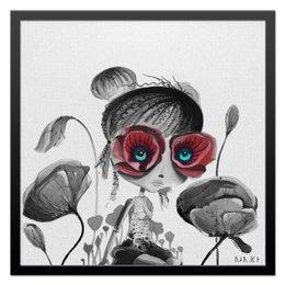 "Холст 50x50 ""Принцесса"" - милая, красный, мак, цветы, кукла"
