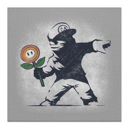 """Холст 50x50 """"Граффити Марио"""" - арт, граффити, banksy, super mario, супер марио"""