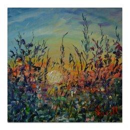 """Холст 50x50 """"Закат"""" - солнце, закат, живопись, август"""