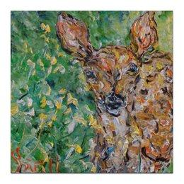 "Холст 50x50 ""Олененок "" - лес, олень, forest, deer"