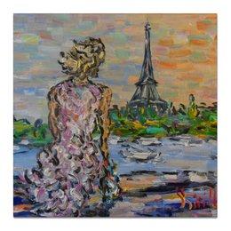 """Холст 50x50 """"Парижанка"""" - красота, париж, эйфелева башня, сена, парижанка"""