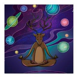 """Холст 50x50 """"Олень Духовный"""" - олень, медитация, лень, духовное развитие"""