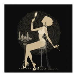 """Холст 50x50 """"Красивая девушка с зеркалом  силуэт ESZAdesign"""" - арт, стильный, фешн, красотка, элегантный"""