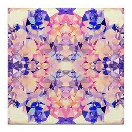 """Холст 50x50 """"Аврора"""" - оранжевый, фиолетовый, розовый, синий"""