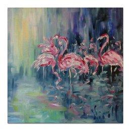 "Холст 50x50 ""Розовый фламинго"" - весна, красота, розовый, отражение, фламинго"