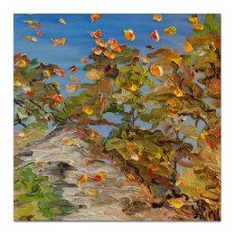 """Холст 50x50 """"Осень"""" - осень, красота, отражение, лужи, autumn, leafs"""