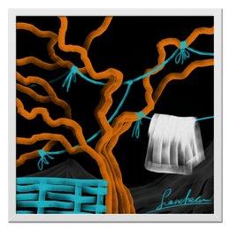 """Холст 50x50 """"Теплая ночь"""" - природа, дерево, живопись, дизайнерские, сельские"""