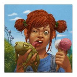 """Холст 50x50 """"Рыженькая с жабой и мороженным"""" - прикол, юмор, девочка, мороженное, жаба"""