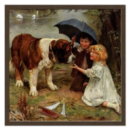 """Холст 50x50 """"Мальчик и девочка с собакой"""" - собака, живопись, день матери, 2018, артур элсли"""