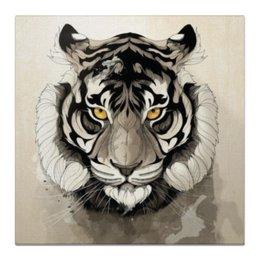 """Холст 50x50 """"Тигр."""" - тигр, тигра, природа, полосы, tiger"""