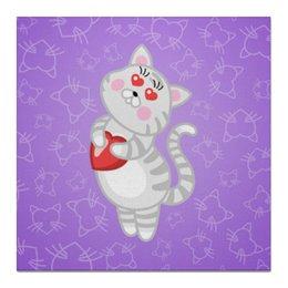 """Холст 50x50 """"Влюбленная кошечка"""" - сердце, любовь, кошка, фиолетовый"""