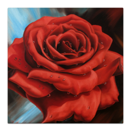 """Холст 50x50 """"Красная роза"""" - любовь, роза, красная роза"""